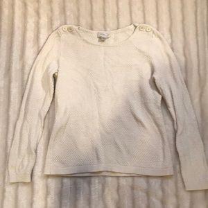 Ann Taylor Loft cream boatneck sweater, size MP.